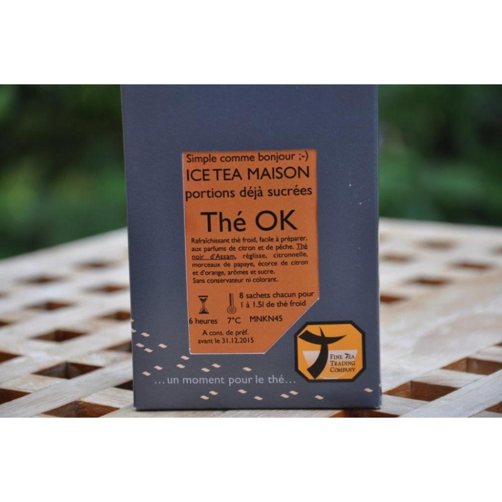 Ice Tea OK Thé froid noir pêche-citron (8 portions avec sucre pour 1 à 1.5l )